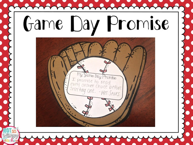 test prep tips game day promise paper baseball glove holding a baseball ball with game day promise on it