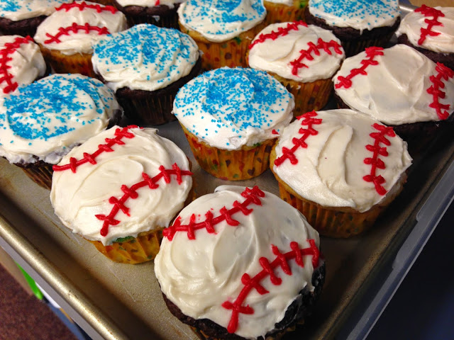 Test prep tips post-test party with baseball cupcakes