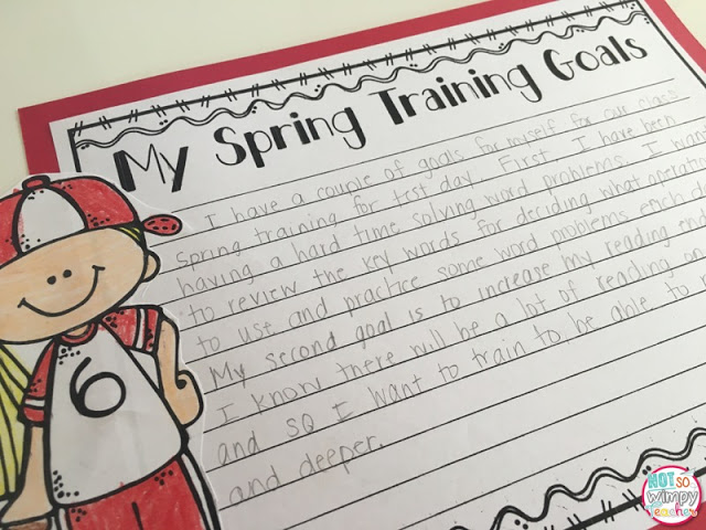 Test prep tips spring training goals worksheet posted on red paper with a blond girl in a red and white baseball uniform