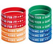 baseball themed rubber bracelets in red, orange, green, and blue
