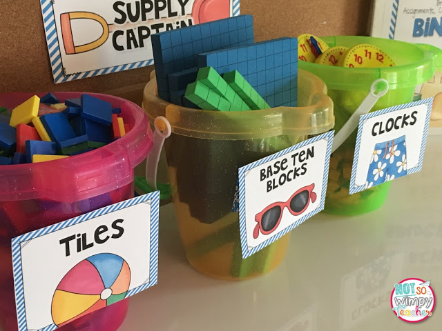 Beach Theme Classroom Supply Organization from Not So Wimpy Teacher