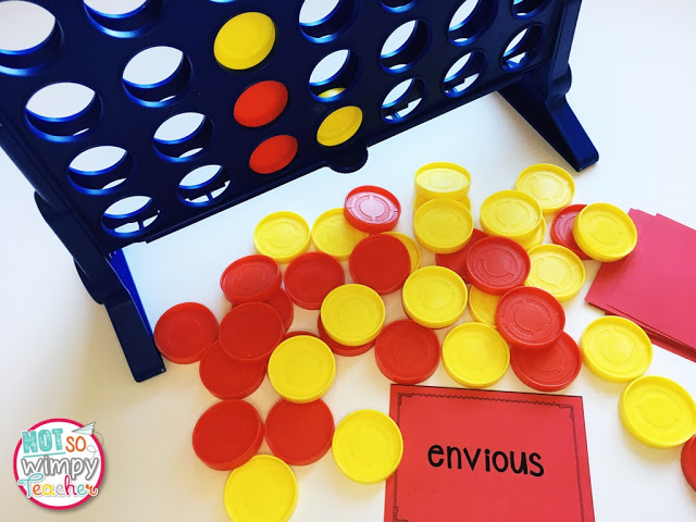 Connect 4 is a fun game to play with vocabulary words
