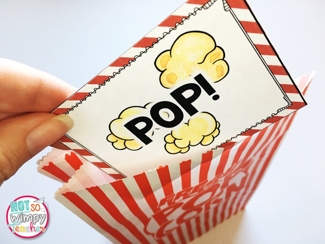 popcorn card for vocabulary games