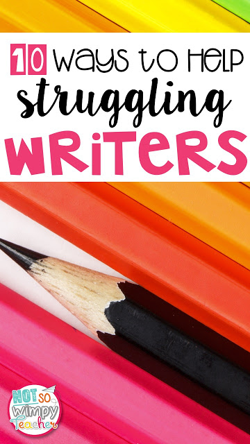 Do you have struggling writers who just don't seem to be growing? Do you have reluctant writers who don't seem to get much writing completed? In every class that I have ever taught, there has always been a handful of kiddos that just don't like writing. These students can be toughest to reach. You have to get creative! Here are my top ten ways to help those struggling writers: