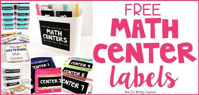 Free labels for your math centers!