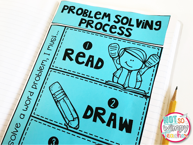 Problem Solving Process Interactive notebook on blue paper