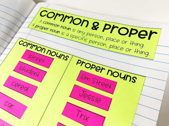 Free ELA resources for grades 2-5 - these grammar lessons included interactive notebooks