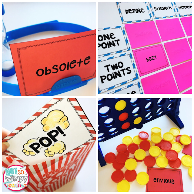 4 free vocabulary games: headbands, jeopardy, popcorn and connect 4