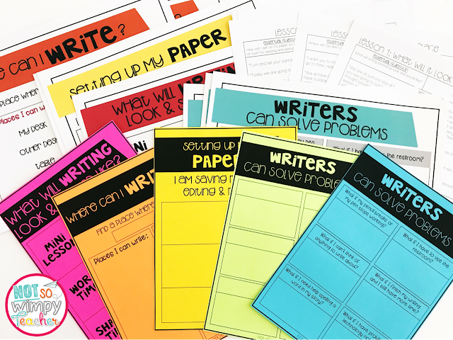 Getting writing workshop started resources on brightly colored paper