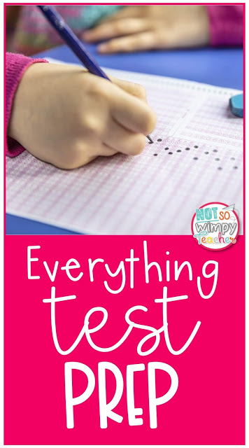 everything test prep pin showing a child filling n bubbles on answer sheet
