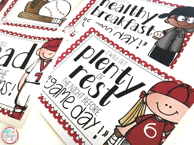 This game day test prep activity uses a baseball them to get kids involved; posters showing kids in baseball gear with testing strategies