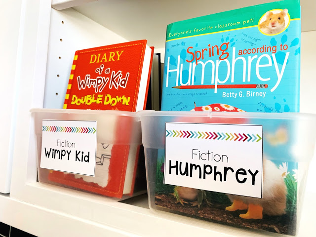 Classroom library with chapter books for fifth grade