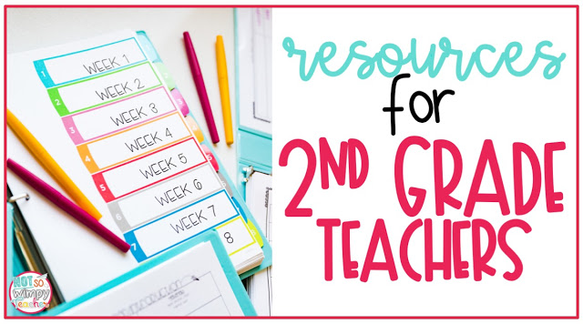 Resources for second grade teachers cover image with wiring unit binder and flair pens