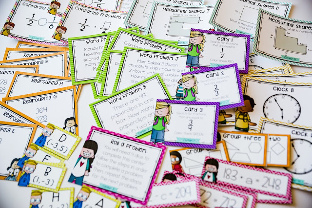 Math center task cards are good resources for second grade