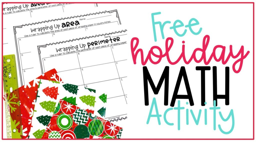 Free Christmas holiday area and perimeter math activity