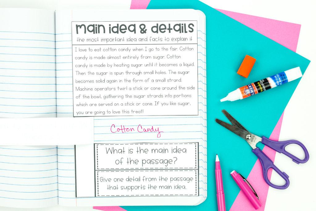 Main Idea Reading Interactive Notebook Activity
