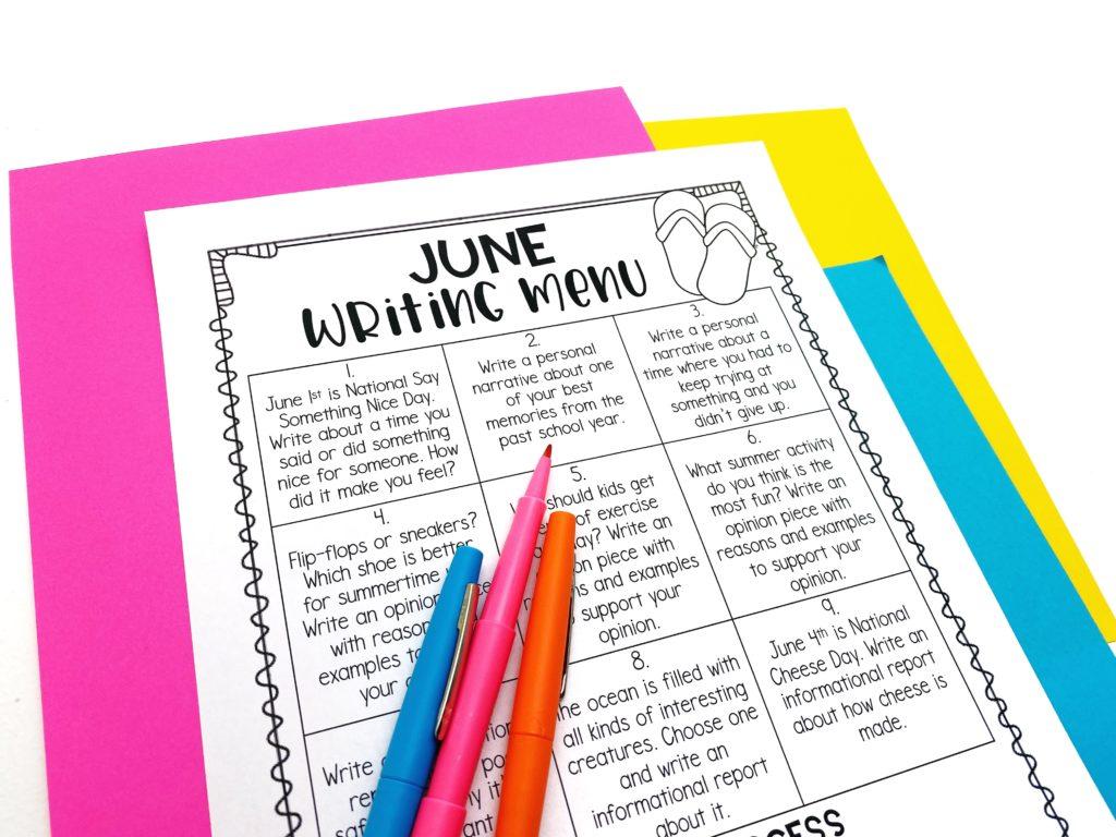 Summer writing menu