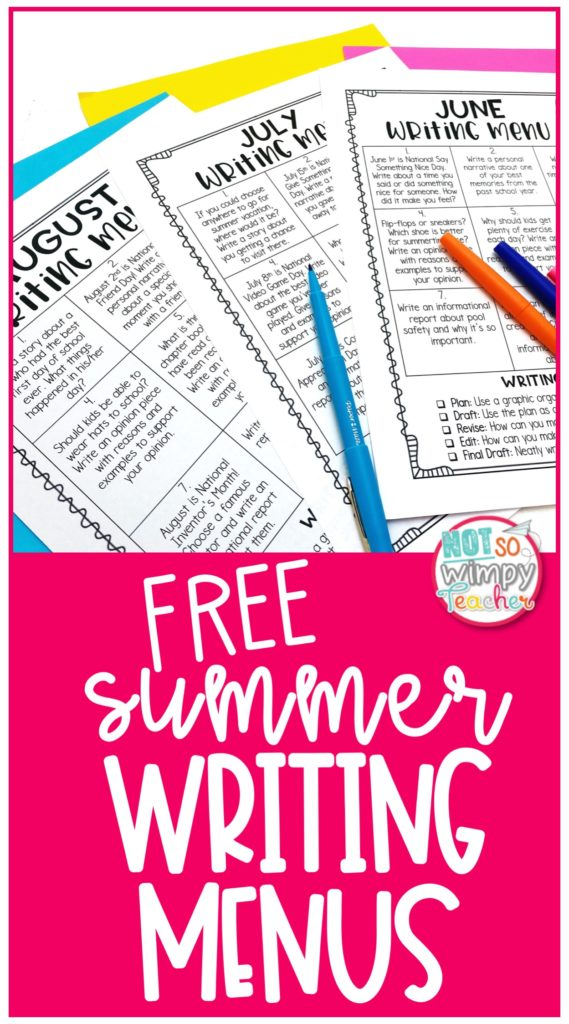 Summer writing menus to send home with your students at the end of the year