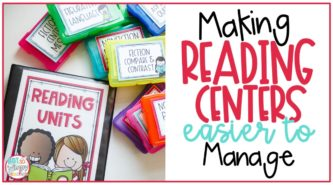 brightly colored task card boxes with text overlay making reading centers easier to manage