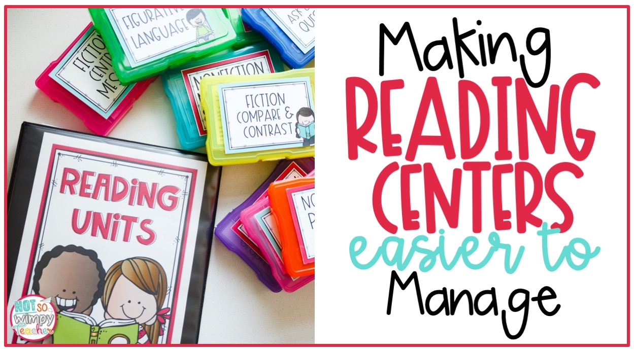 brightly colored boxes with text overlay making reading centers easier to manage