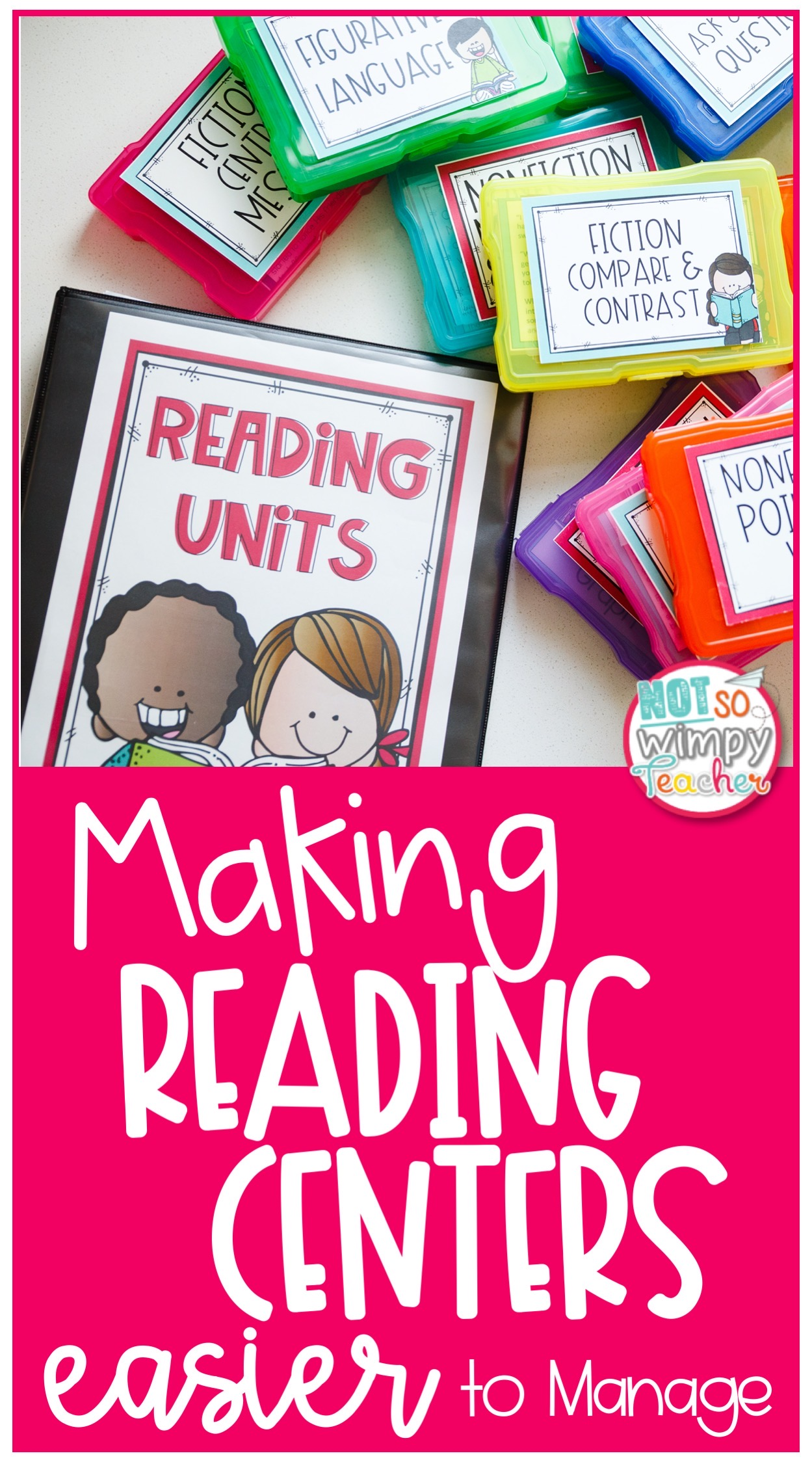 brightly colored boxed with text overlay making reading centers easier to manage