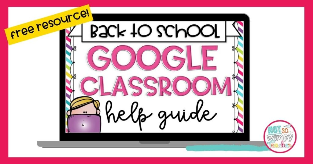 laptop with animated boy and text overlay google classroom help guide
