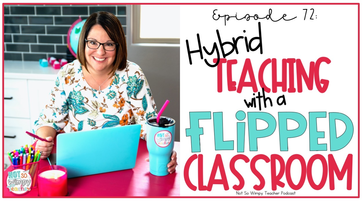 smiling teacher with a laptop and text overlay hybrid teaching with a flipped classroom