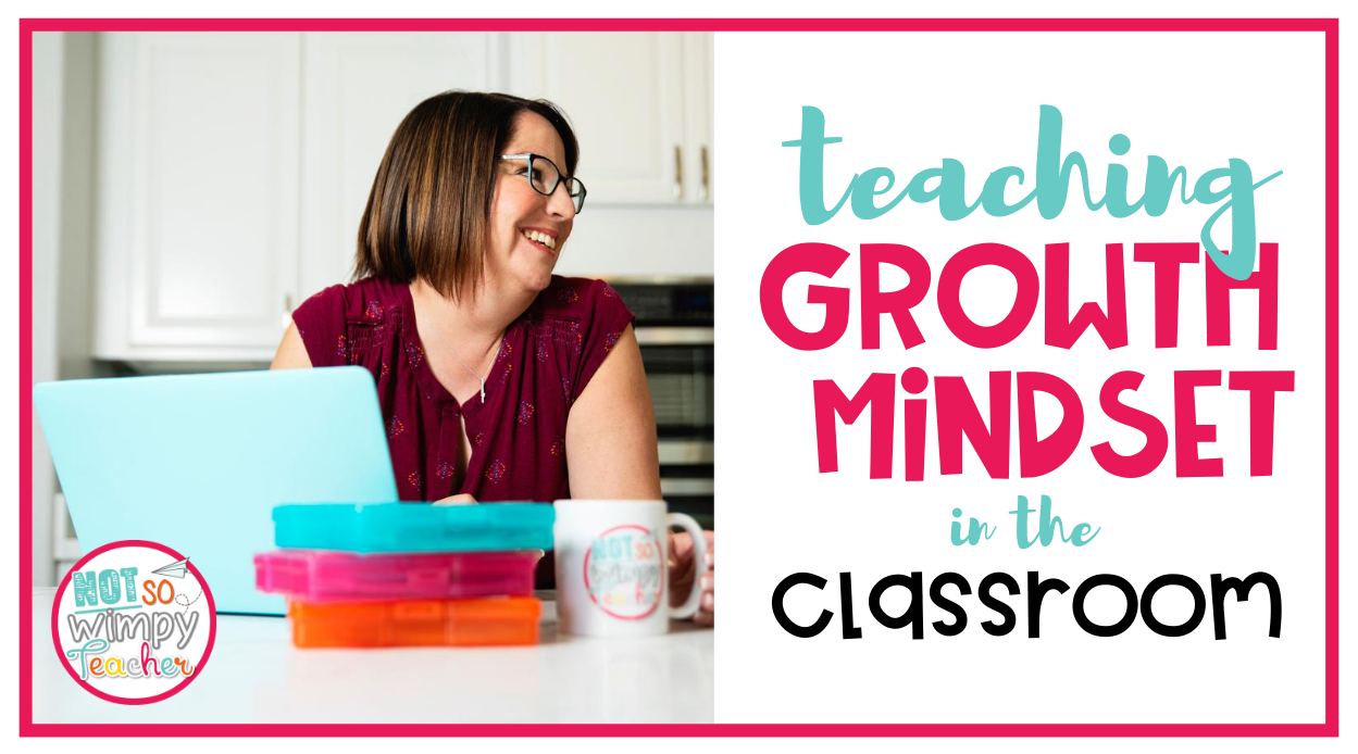 smiling teacher with text overlay teaching growth mindset in the classroom