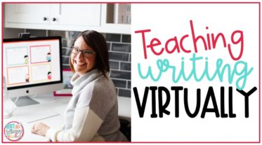 smiling teacher teaching writing virtually