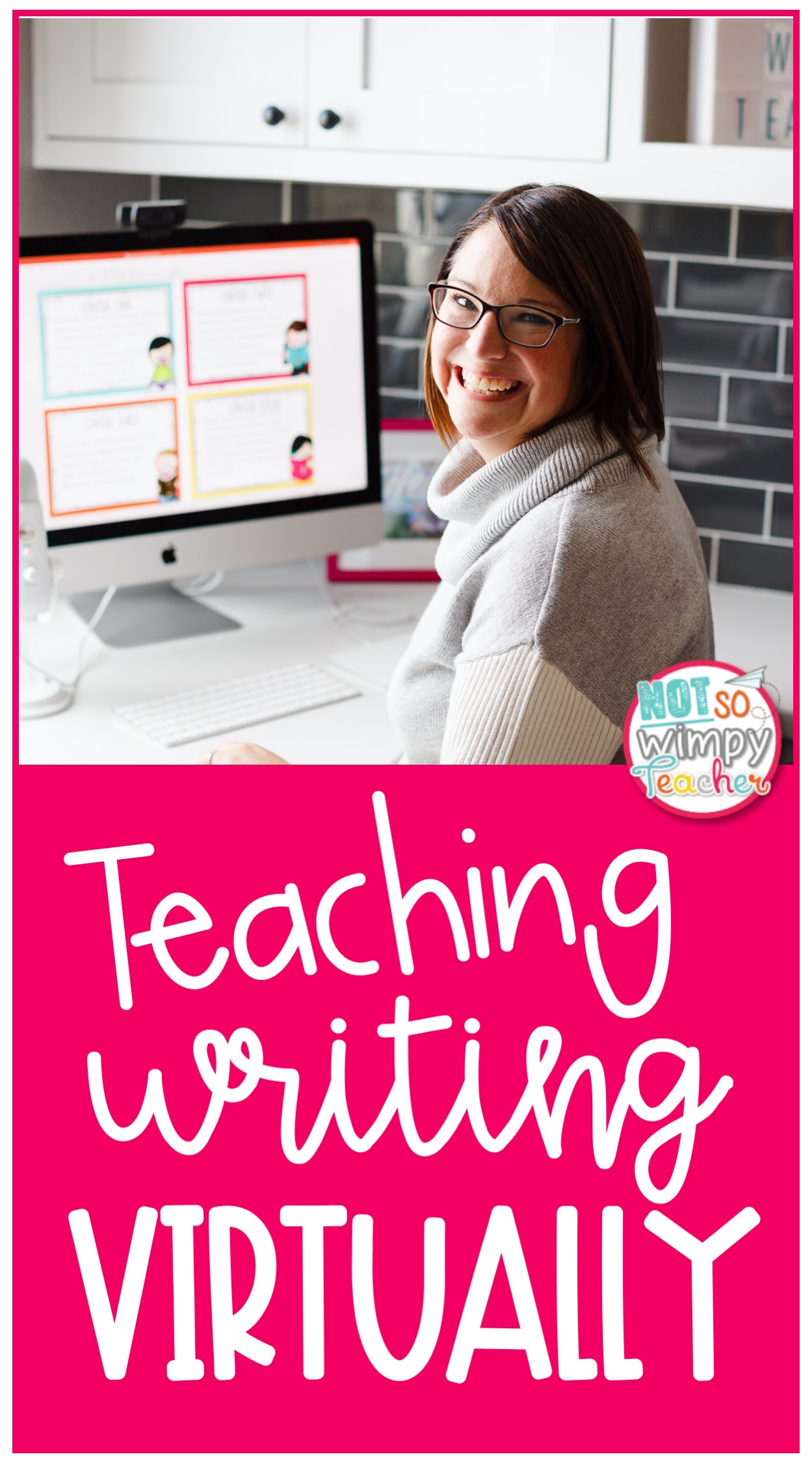 smiling teacher teaching writing virtually