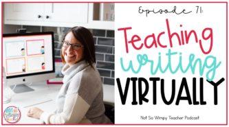 smiling teacher teaching virtually