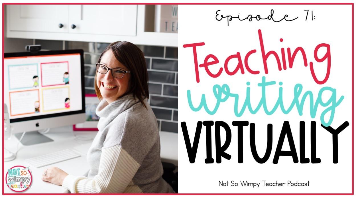 smiling teacher teaching writing virtually at desk