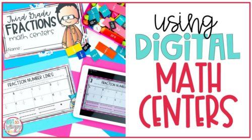ipad with digital math center displayed