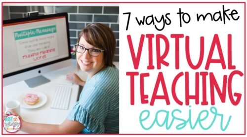 teacher working on computer with text overlay 7 ways to make virtual teaching easier