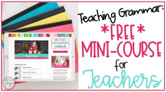 ipad displaying free teaching grammar mini course for teachers