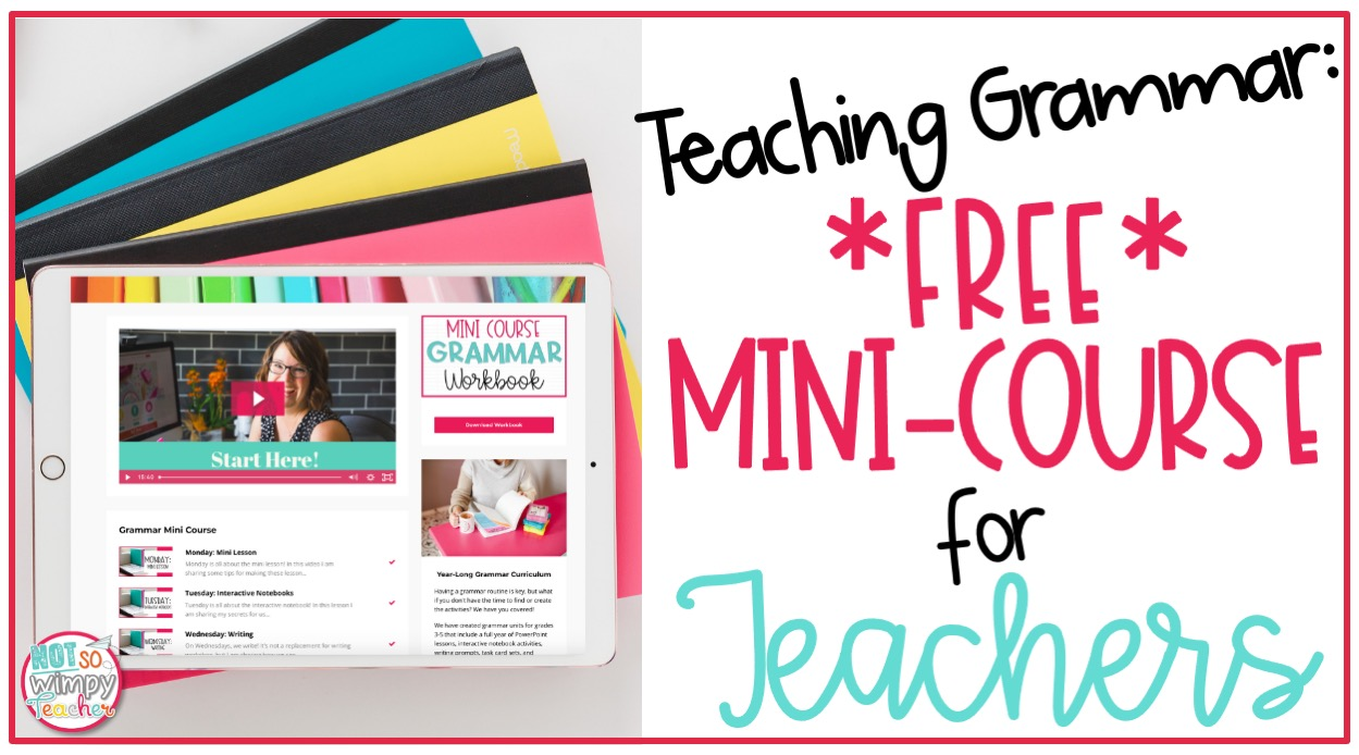 ipad displaying free mini course cover about Teaching Grammar