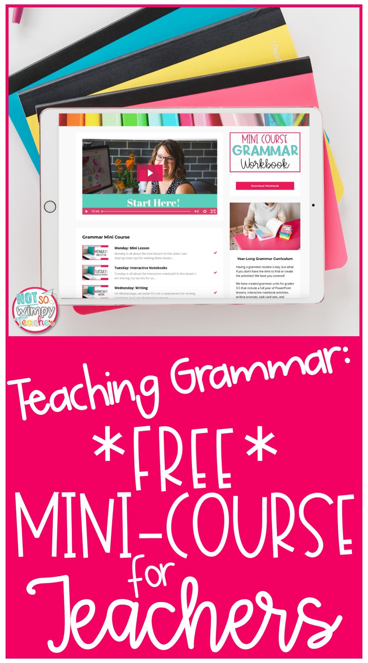 ipad displaying free teaching grammar mini-course for elementary school teachers