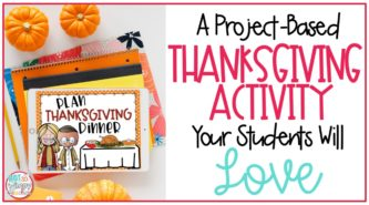 digital Thanksgiving math activity for elementary students displayed on ipad
