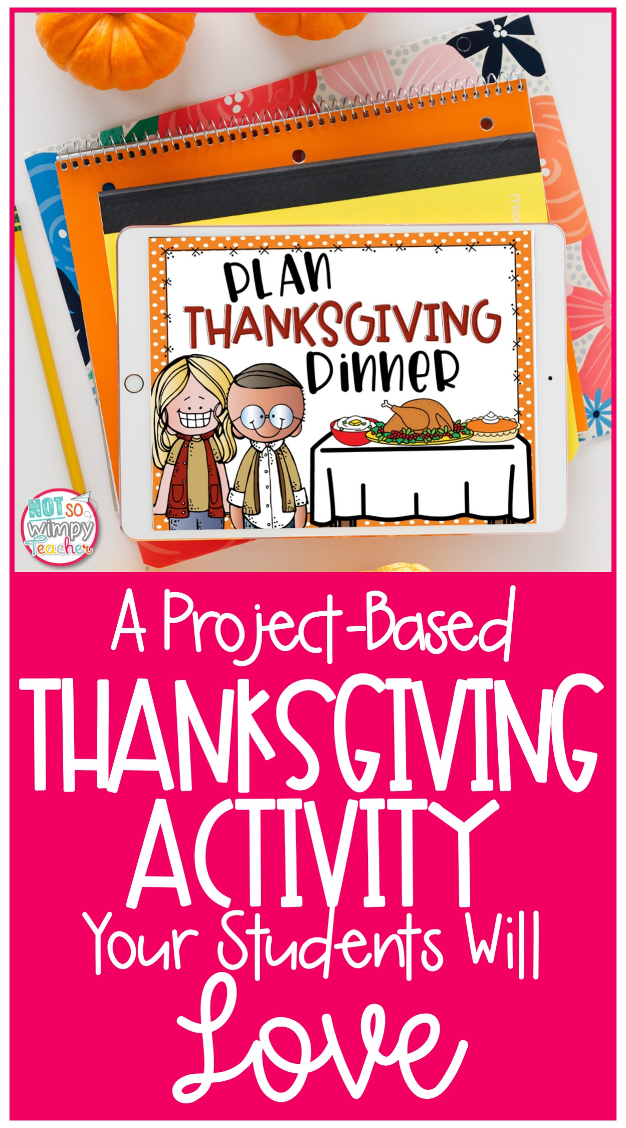 Thanksgiving digital math activity displayed on ipad with stack of notebooks
