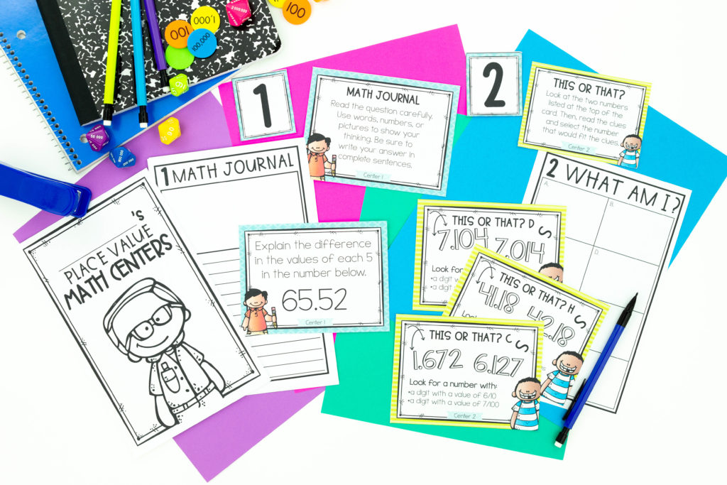 Task cards, math journal, notebooks, and math manipulatives for improving the quality of student work in centers