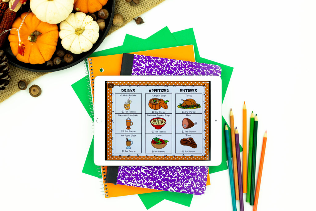 Digital Thanksgiving Activity for the classroom