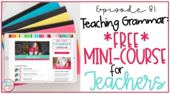 ipad displaying free teaching grammar mini course for teachers