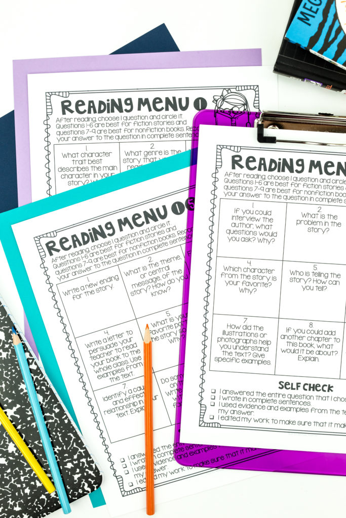 Close up of reading menu featuring a checklist to help improve the quality of student work in student centers