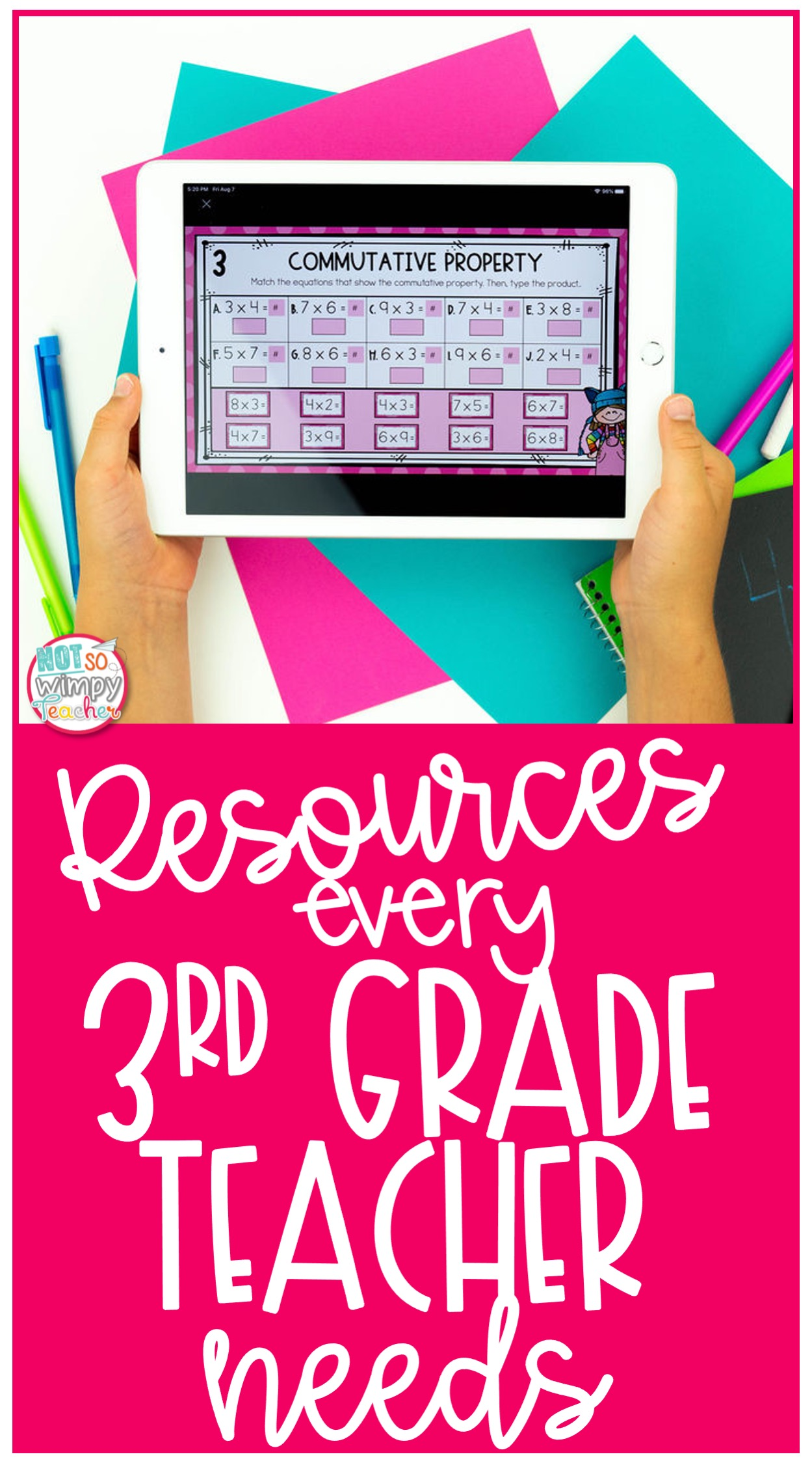 student holding ipad with digital multiplication activity with text overlay resources every 3rd grade teacher needs