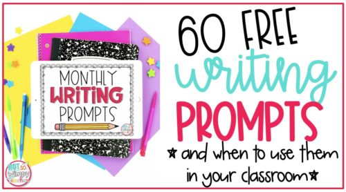 composition notebook and ipad displaying 60 free writing prompts