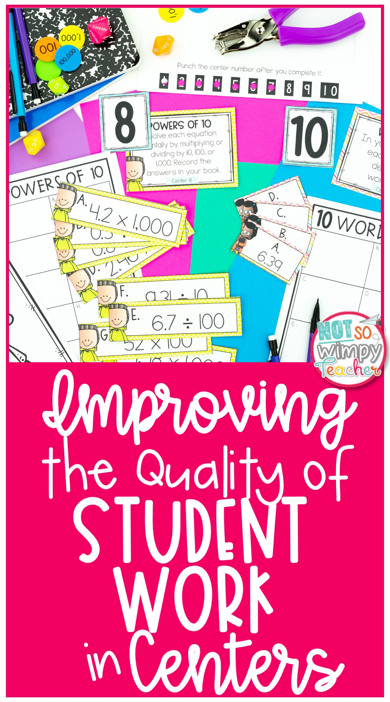 Pin featuring images of math center supplies for Improving the Quality of Student Work in Centers
