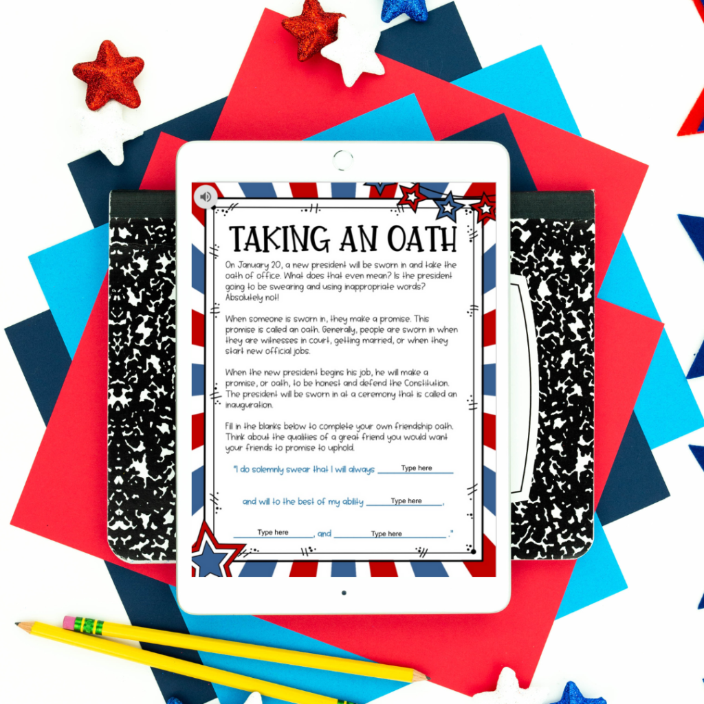 Taking an Oath activity from Inauguration Day resource on white iPad