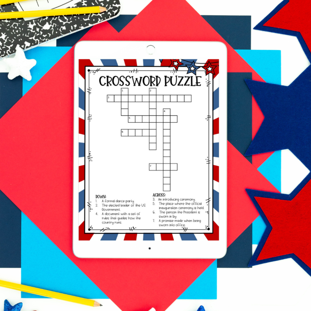 crossword puzzle from inauguration day resource with red, white and blue border on white iPad