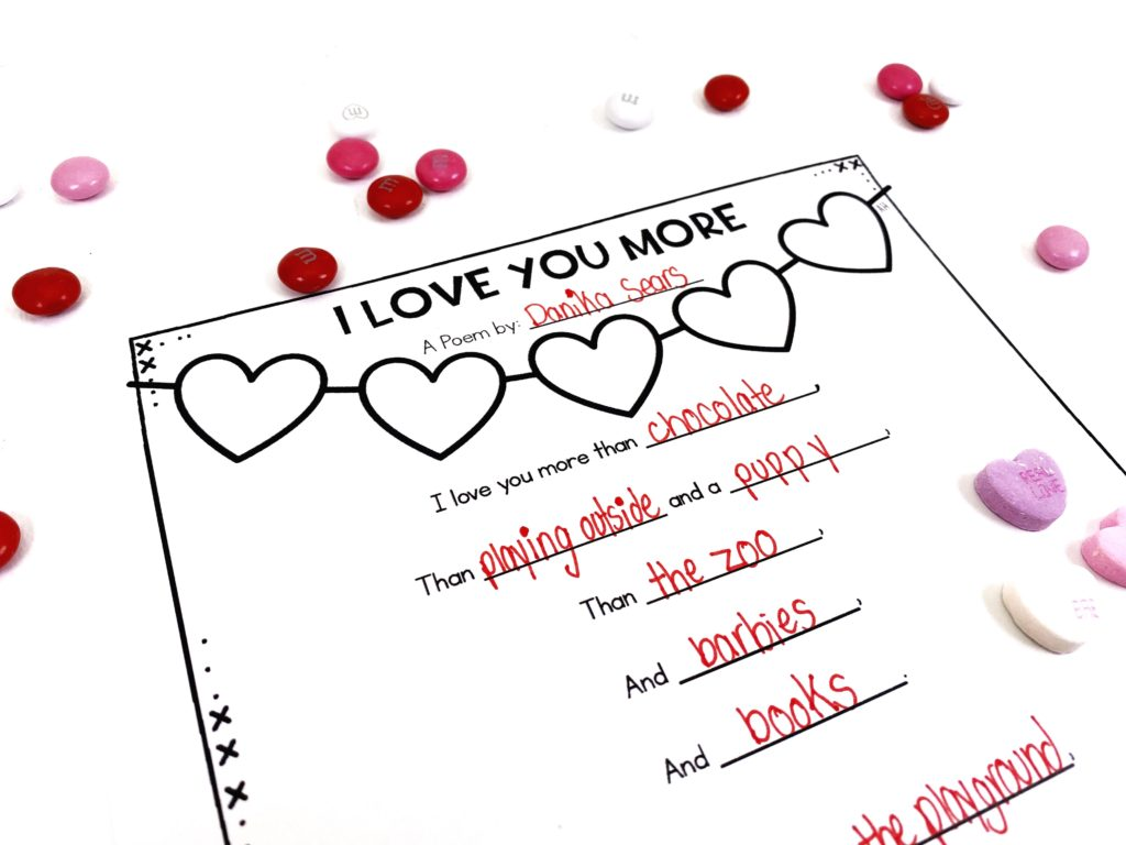 """Valentine's Day activities example, """"I love you more"""" fill in the blank poems"""