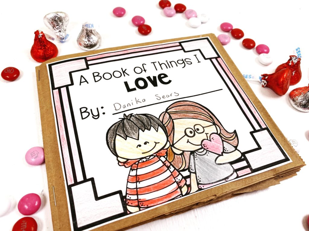 """A paper bag """"Book of Things I Love"""" is one of our Valentine's Day activities"""